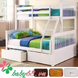 Giường tầng 1m4 Bella BB228 màu trắng có hộc kéo