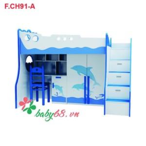 Giường tầng Cá heo 3 trong 1 F.CH91-A