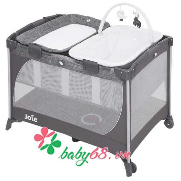Giường cũi trẻ em Joie Commuter Change & Snooze Linen Gray