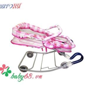 Xe nhún ăn bột có vách 4 trong 1 Autoru - AUBFC04 màu hồng