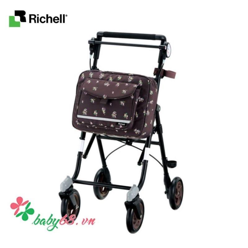 Xe tập đi dành cho người già Richell - Họa tiết chấm bi, hoa hồng HWRC49251