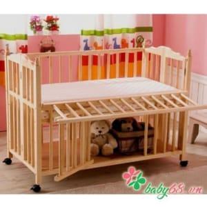 Giường cũi Elly màu tự nhiên (có kèm nệm)