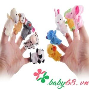 Bộ thú rối 10 con xỏ ngón tay bằng vải cho bé