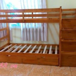 Giường ba tầng Bella BB165 màu tự nhiên