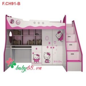 Giường tầng 3 trong 1 Hello Kitty GT10