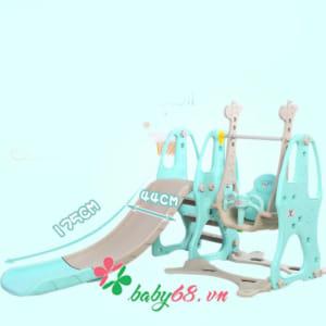 Cầu trượt trẻ em có xích đu Hàn Quốc K21- Hươu cao cổ