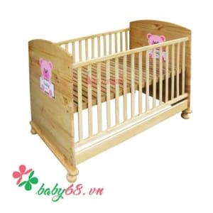 Giường cũi Teddy gỗ màu tự nhiên