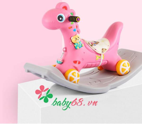 Ngựa bập bênh có đèn có nhạc có bánh xe