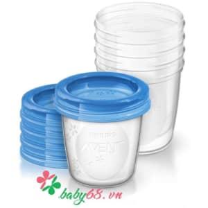 Cốc trữ sữa VIA Philips Avent SCF619/05 180ml (5 cốc)